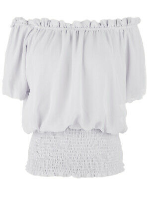 Women Summer Short Sleeve White Stretch Off Shoulder Boho Casual Blouse Top