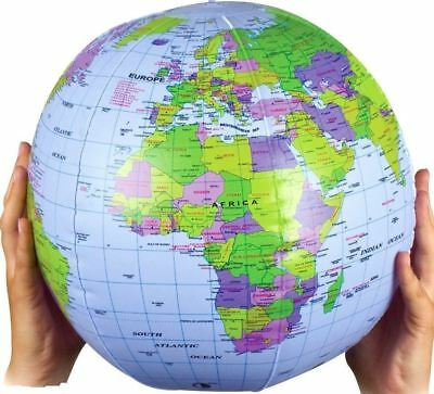 6 X 30Cm Inflatable Globe Atlas World Map Earth Beach Ball Geography Blow Up Toy