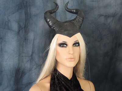 HÖRNER HAUBE SUCCUBUS (S) Latex Horn Hexe Pagan Wicca Maleficent Satyr Halloween