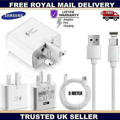 Genuine Samsung Fast Charger Charging Plug & 3m USB-C Data Lead For Galaxy Phone