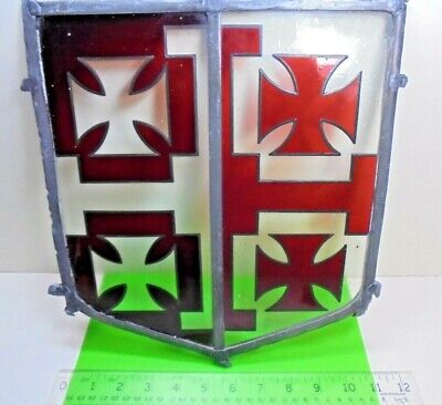 antique COAT OF ARMS RED CROSS pate SHIELD OLD LEADED LIGHT STAINED GLASS WINDOW