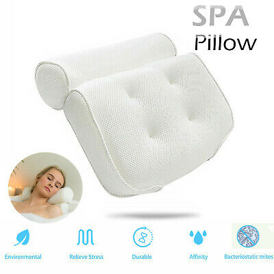 Breathable 3D Mesh Spa Bath Pillow with 4 Suction Cups, Neck & Back Support AU