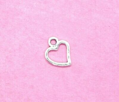 20 x Small Hollow Heart Silver Plated Charms Antique Tibetan Silver