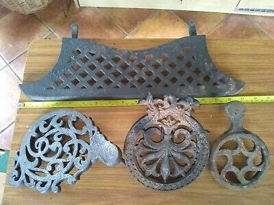 3 x Antique cast iron  Cooker Fire Trivets  and fireside stand