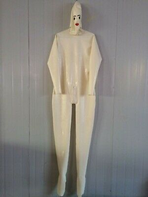 Latexanzug Latex Rubber Gummi White Oveall Catsuit Zentai Zipper Bodysuit S-XXL