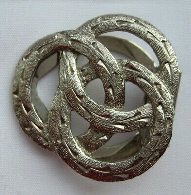 Stunning vintage silver colour metal modernist celtic style clip brooch pin
