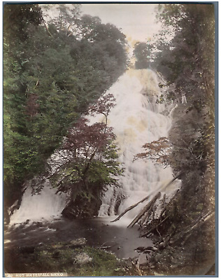 Japon, Hot Waterfall, Nikko Vintage albumen print.  Tirage albuminé aquarellé