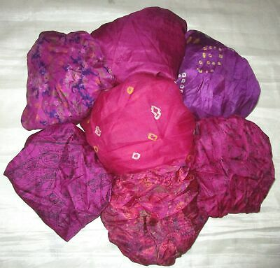 UK LOT PURE SILK Vintage Sari REMNANT Fabric 7 Pcs 1 foot ech Magenta #ABCTJ