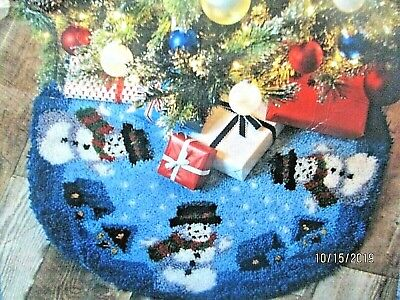 "LATCH HOOK RUG KIT  CHRISTMAS KIT  ""SILENT NIGHT TREE SKIRT"" 34"" diameter"