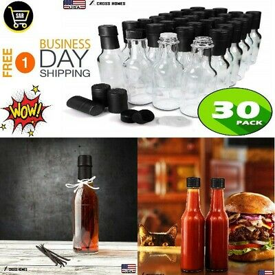 30 Hot Sauce Woozy Bottles Empty 5 Oz Clear Complete Sets of Premium Commercial