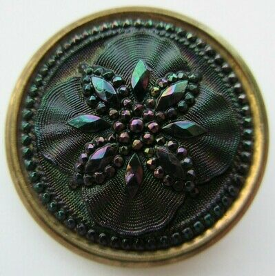 Stunning LARGE Antique~ Vtg Carnival Luster Black GLASS in Metal BUTTON (A)