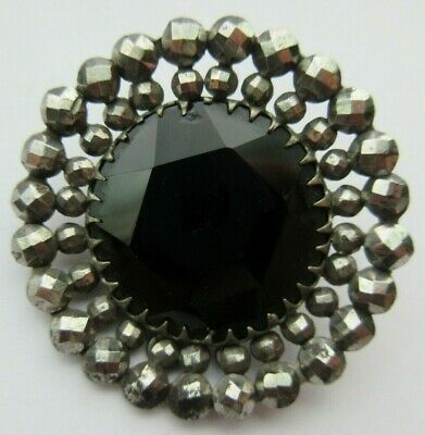 Sparkling LARGE Antique~ Vtg Faceted Black GLASS in Metal BUTTON Cut Steels (A)