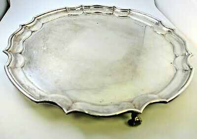 """1945 H. Fisher & Co. Sheffield Sterling Silver Scalloped Border Footed Tray 12"""""""