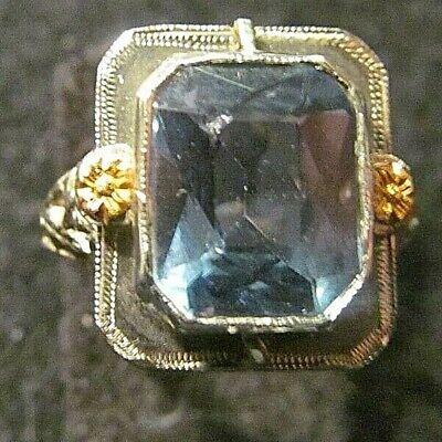 Beautiful High Quality Antique Aquamarine Ring With Yellow Gold Accents