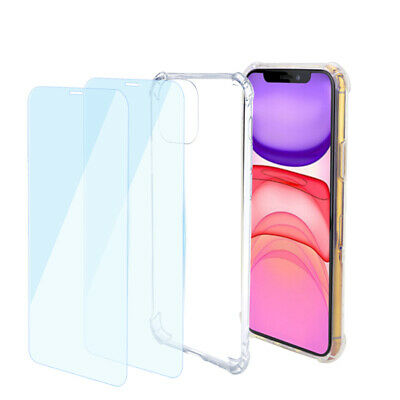 For iPhone 11/11 Pro/11 Pro Max Shockproof Transparent Case + 2 Screen Protector