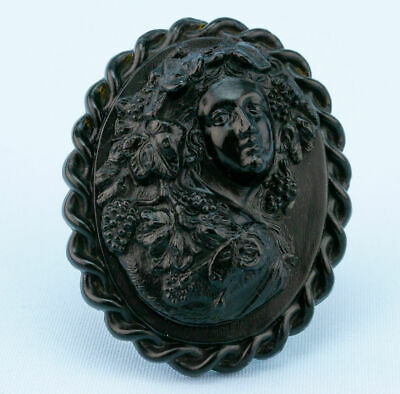 1860s Pressed Horn Brooch Black Large Antique English High Victorian Cameo Retro