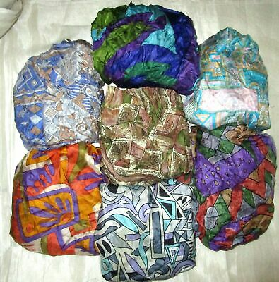 UK LOT PURE SILK Vintage Sari REMNANT Fabric 7 Pcs 1 foot ech Real Multi #ABCTR