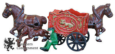 Lot of 5 Assorted Antique Cast Iron Toys Circus Wagon Horses Harness Driver