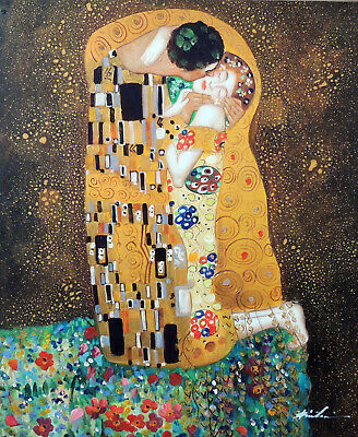 The Kiss Klimt Oil Painting Couple In Love Portrait Repro 20X24 STRETCHED