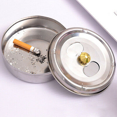 Smoking Accessories Stainless Steel Ashtray Lid Rotation Enclosed Sale Chic