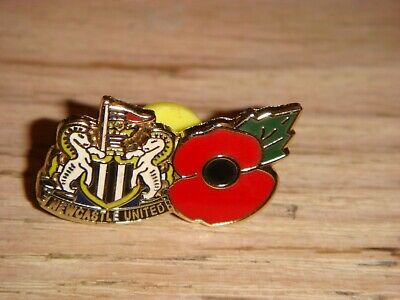 NEWCASTLE UNITED FC Club Crest & Poppy Pin Badge STYLE 2 WH- NEW - NUFC Football