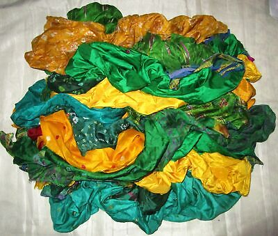 UK LOT PURE SILK Vintage Sari REMNANT Fabrics 100 GRAMS Yellow Green #ABCQS