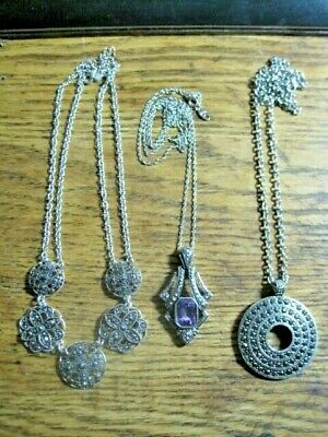 3 Art Deco Look Style Marcasite Long Necklaces Silver Metal Chains Retro
