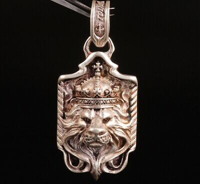 Old Lion King China Tibet Silver Pendant Plate Mascot Craft Collection Gift