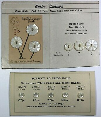 2 Vintage / Antique Salesman Sample Cards of Pearl Sewing Buttons