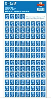 100 Royal Mail Second Class 2nd postage stamps on sheet - free delivery