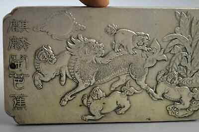 Collection Old Handwork Miao Silver Carve Exorcism Kylin Auspicious Rare Pendant