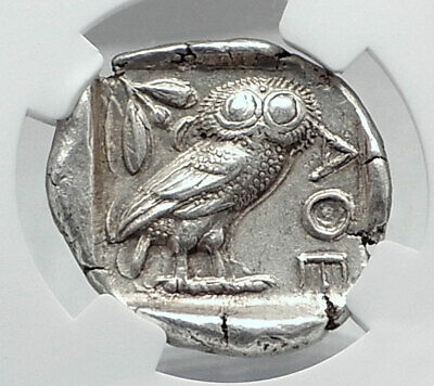 ATHENS Greece 440BC Ancient Silver Greek TETRADRACHM Coin Athena Owl NGC i80948
