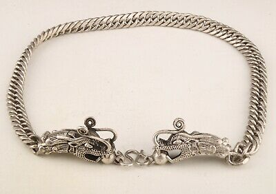 Retro China Tibetan Silver Necklace Dragon Mascot Gift Collection Old Decora