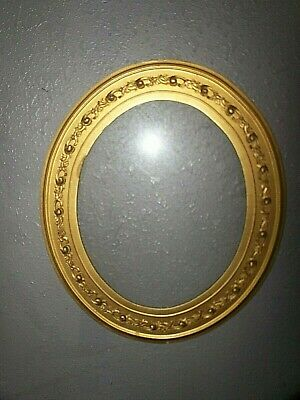 "LARGE vtg OVAL ORNATE WOODEN PICTURE MIRROR FRAME BAROQUE GOLD GILT 22x19"" glass"