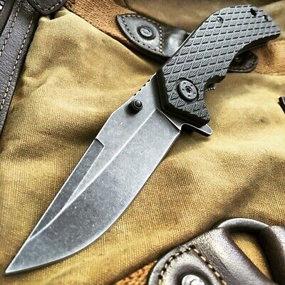"""8"""" BALLISTIC Stonewash Tactical Spring Assisted Open Combat Army Pocket Knife-W"""