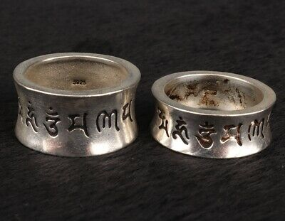 2 Retro China Tibet Silver Ring Fashionable Ladies Decorative Craft Collection