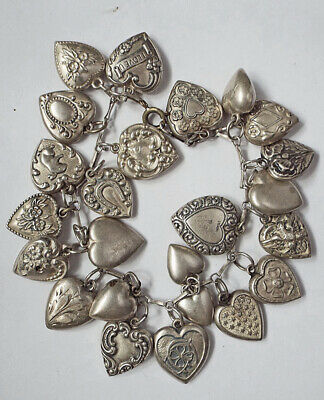 Antique Victorian Sterling Silver Puffy Heart Repousse Charm Bracelet 24 Total!