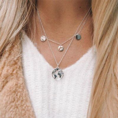 Silver World Map Multi-Layer Choker Collar Pendant Chain Necklace Jewelry Gift