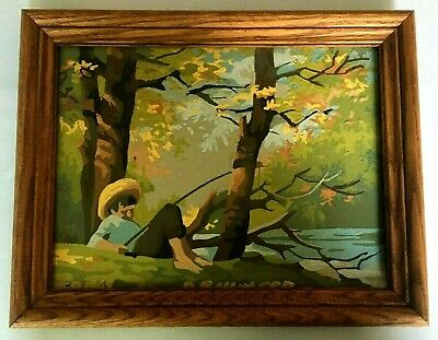 Paint by Number Picture Lazy Fisherman Painting Mid Century Modern Boy Fishing