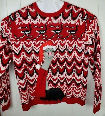 33 Degrees Christmas Sweater Ostrich Bird Funny Cute Long Sleeve Red Size XXL