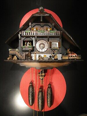 Stunning Large German Chalet Musical 8-Day Cuckoo Clock W/ Animation - Works !