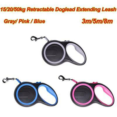 Retractable Dog Lead Extending Leash Tape Cord 3/5/8m Max 20kg Pets Animals Gift