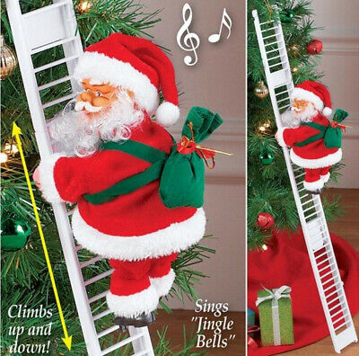 Christmas Santa Claus Electric Climb Ladder Hanging Decoration Christmas Tree US