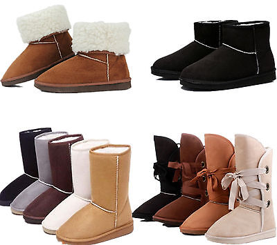 Womens Thick Snow Boots Ladies Warm Slip On Snow Mid-calf Fur Lined Flat Shoes