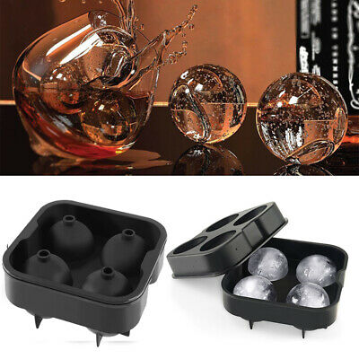 4 balls Large Cocktail Ice Maker Sphere Tray Cube Whiskey DIY Round Mould