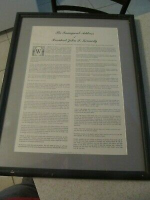 January 20 1961 Inaugural Address of President John F Kennedy large print framed