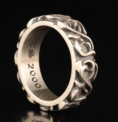 Precious Chinese 925 Silver Genuine Silver Ring Old Hand Carved Lady Decorative