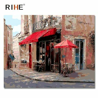 Quiet Coffee Shop DIY Paint By Numbers Canvas Oil Framed Wall Art Painting Kit