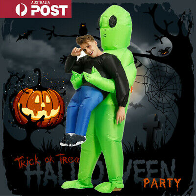 Scary Halloween Adults Green Alien Inflatable Costume Blow Up Suits Party Dress