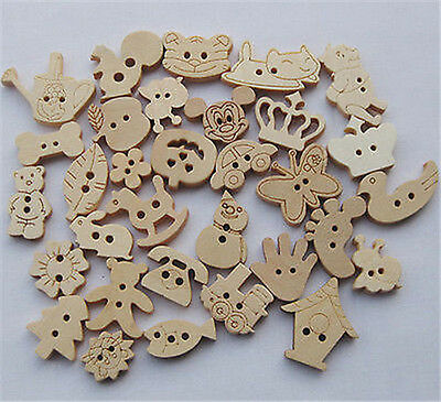 Random 100pcs Cartoon Animal Wood Buttons Sewing Appliques Kid's DIY Lots F649